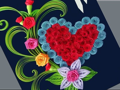 Decorate Beautiful Rose Flower with Heart Design Greeting Card | Indian Tradition