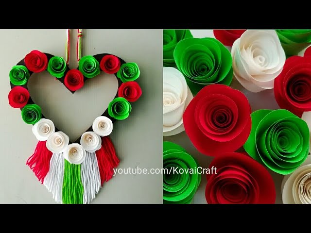 Diy paper flower and woolen wall hanging. Woolen craft. paper flower wall hanging. Easy home decor