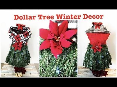 DOLLAR TREE DIY LIGHTED HOLIDAY DRESS TREE FARMHOUSE STYLE Final