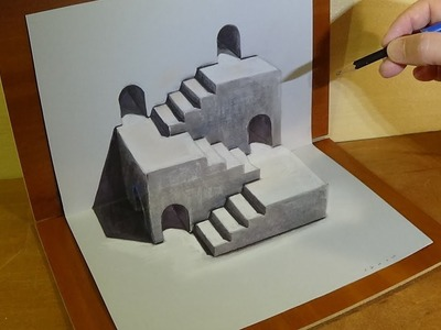 Drawing 3D Stairs Illusion - Trick Art on Paper - Vamos