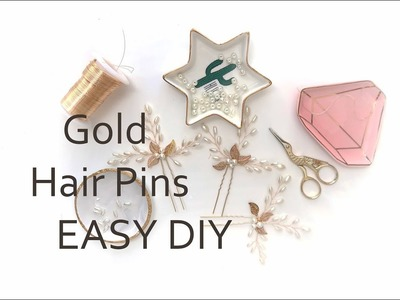 #Hairpins, #Wirejewelry Easy DIY Tutorial Gold Leaves, Pearls, Hair Pins - How to Make  Accessory