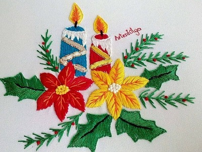 Hand Embroidery: Candles and poinsettia flowers | Bordado a mano: Velas y flores de Nochebuena