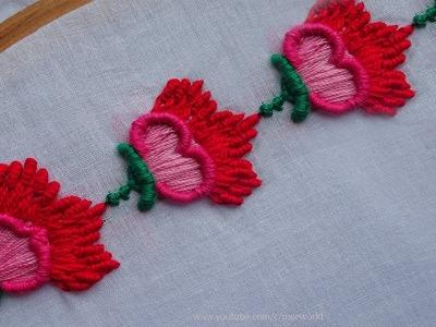 Hand Embroidery Decorative Border Design #6   bullion Stitch