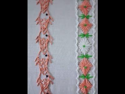 Hand embroidery.Hand embroidery 2 borders.Hand embroidery stitches.