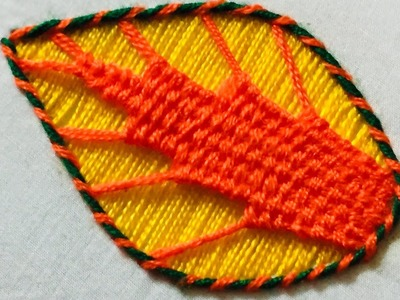 Hand Embroidery: leaf design embroidery by nakshi design art.