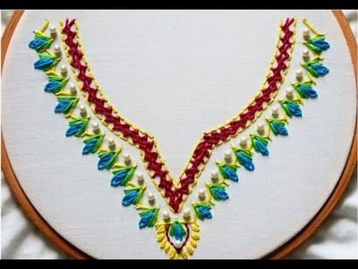 Hand Embroidery : Neckline Embroidery Design For Kameez. Kurtis. Dress