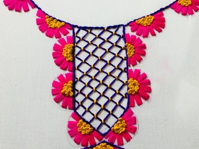Hand Embroidery neckline embroidery design