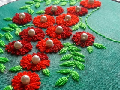 Hand Embroidery || Red FLOWERS  design