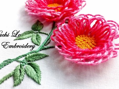 Hand Embroidery Tutorial for Beginners| How to Embroider 3D Flowers | Cách thêu hoa 3D đơn giản