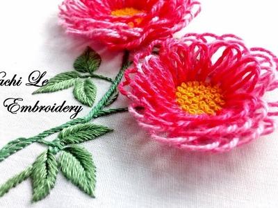 Hand Embroidery Tutorial for Beginners| How to Embroider 3D Flowers | Cách thêu hoa 3D đơn giản