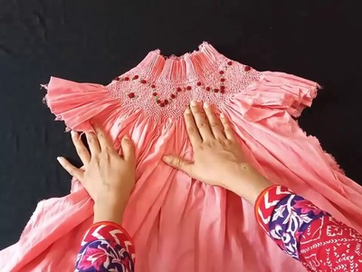 Handmade smocking frock   easy to cut and stitch frock for kids