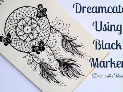 How to draw Dream Catcher using Black Marker. DIY Dream Catcher Drawing