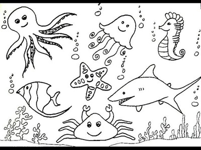 How To Draw Sea Creatures (Animals) - Sea Horse, Shark, Jelly Fish, Octopus Etc.