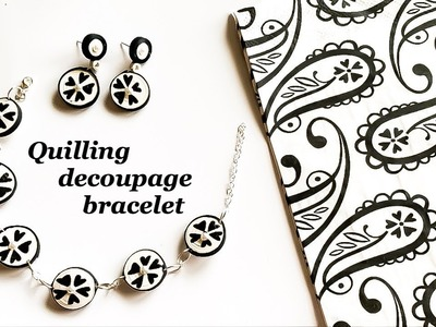 How To Make Paper Quilling Bracelet.Quilling decoupage bracelet-earrings.decoupage paper bracelet