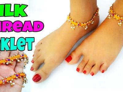 How to make silk thread anklets at home.silk thread jewellery.tutorial.silk thread payal