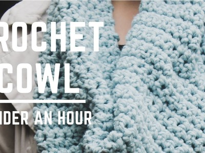 Learn How To Make A Crochet Cowl In Under An Hour! | Beginner Crochet Cowl | Beginner Crochet Scarf