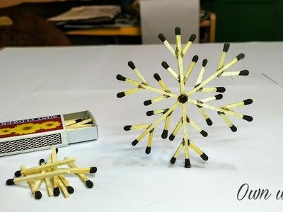 Matchstick Art and Craft Ideas   How to Make Matchstick snowflake Christmas decoration craft.