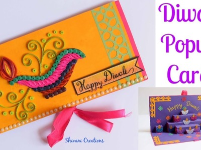 Quilled Popup Diwali Card. Quilling Diya Card. DIY Diwali Greeting Card