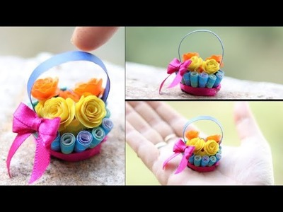 Quilling miniature flower Basket in 3d   diy paper rose   Priknowtomakeit
