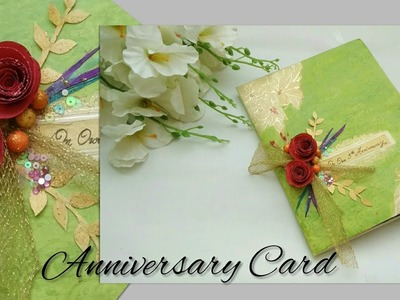 Recycling a white wedding invitation card into green Anniversary card | Anniversary card
