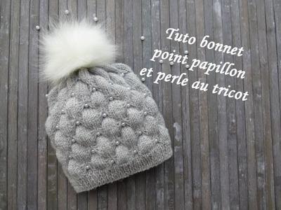 TUTO BONNET PAPILLON ET PERLE AU TRICOT Hat with beads knitting GORRO MARIPOSA CON PERLA DOS AGUJAS