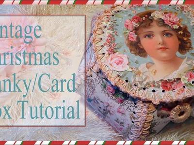 Vintage Christmas Card. Hanky Box Tutorial - Stamperia 'Sweet Christmas'