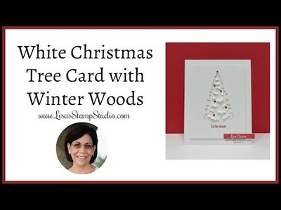 ????White Christmas Tree Card with Winter Woods
