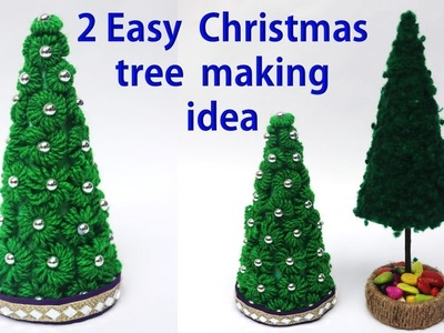 2 Easy Christmas tree making idea || Christmas tree decor idea || best out of waste wool