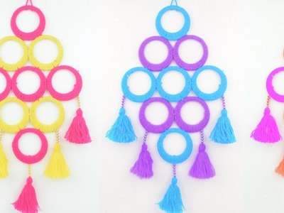 Bangles Wall Hanging out of woolen for Home Decor || DOOR HANGING DESIGN IDEA OUT OF WOOL