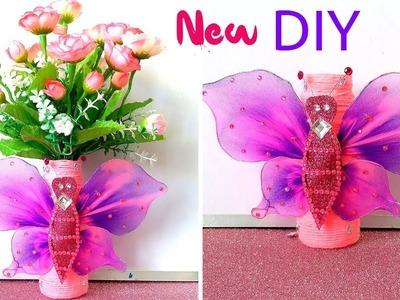 Butterfly flower vase with plastic botlle | plastic bottle flower vase | diwali decoration ideas