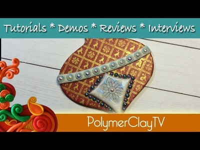 Create a silkscreend wood gift tag or holiday ornament with polymer clay