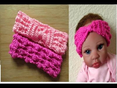 Crochet Baby headband with Bow tutorial Newborn 0-3 months - Designed by Happy Crochet Club