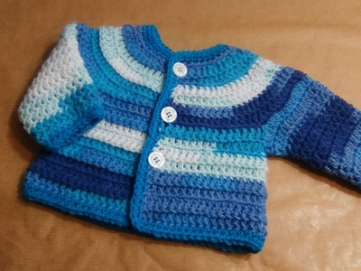 "CROCHET TOP DOWN CARDIGAN FOR BABIES ""CANDY"" tutorial any size Alex"