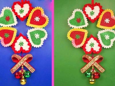 DIY Christmas Wall Decoration Idea at Home   Make Christmas Wreath   Easy DIY Wall Decoration