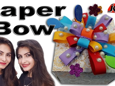 DIY Easy paper bow gift wrap | How to make | JK Arts 1459 #PaperBow