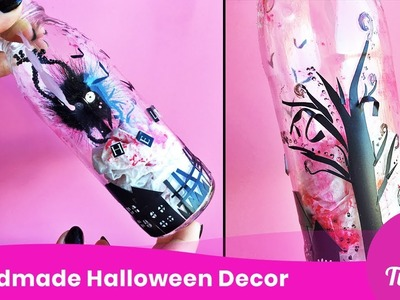 DIY Halloween Decor. Bottle Decoration Idea. Simple Home Craft