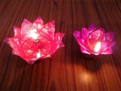 DIY-Handmade beautiful lotus diyas out of clay ll Home decor