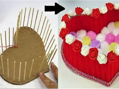 DIY Heart Shaped Basket using Wool. DIY Woolen. Room Decor