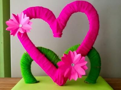 Diy Heart showpiece. woolen showpiece.  Best out of waste. diy home decoration. wall decoration