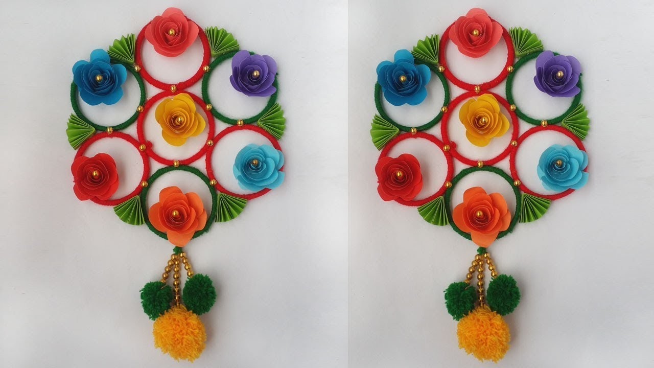 DIY: Old Bangles Reuse Idea!!! How to Make Beautiful Wall Hanging with Wool & Bangles!!!