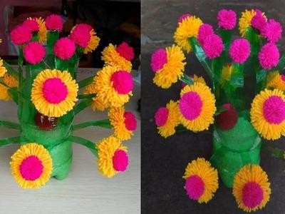 DIY Plastic Bottle Flower Vase How To Make Woolen Flower Pot GULDASTA
