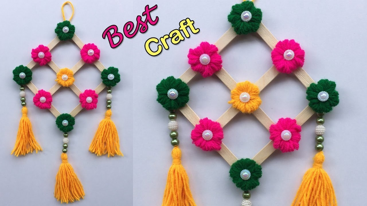 Diy Wall Hanging Craft Ideas Easy With Waste Material Popsicle Stick