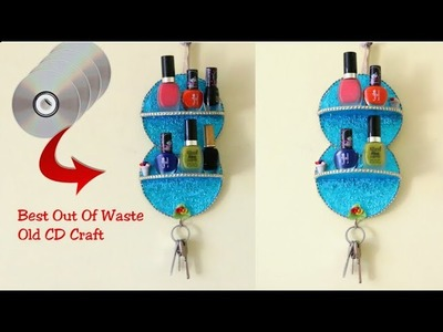 DIY Waste CD Craft| How to Make Makeup Organizer & Key Holder With Old CD.DVD|Best out of waste