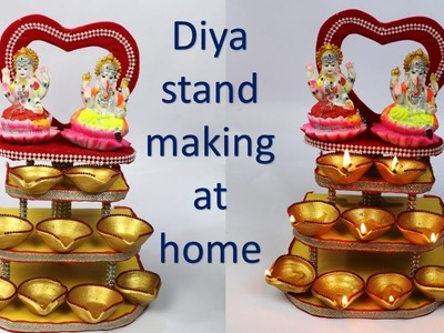 Diya stand making at home || diwali decoration idea || best out of waste