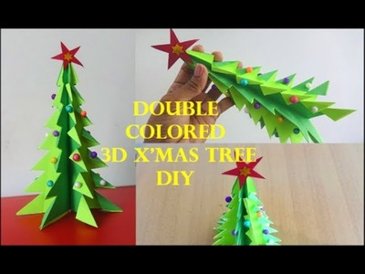 Double Colored 3D Christmas Tree Tutorial ~ X'Mas Tree Making Ideas ~ DIY. Step By Step .
