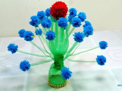 Flower vase | How to Make Flower Vase With Plastic Bottle and Wool | Flower vase Making