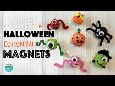 Halloween Crafts for Kids    Easy Spider & Pumpkin Magnets using Cotton Balls