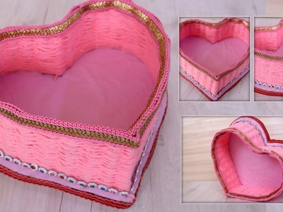 Heart Shaped Box Craft    How To Make A Heart Shaped Paper Gift Box ???? DIY Gift Box    Woolen Craft