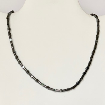 Hematite Cube Bead and Hematite Tube Bead Necklace