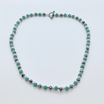 Hematite Faceted Bead, Teal Faceted Bead and White Pearl Necklace